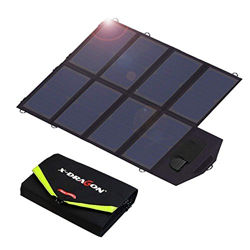 X-DRAGON Solar Charger, 40W Solar Panel Charger (5V USB with SolarIQ + 18V DC) Water Resistant Laptop Charger Compatible Cellphone, Notebook, Tablet, Apple, iPhone, Samsung, Android, Camping, Outdoor