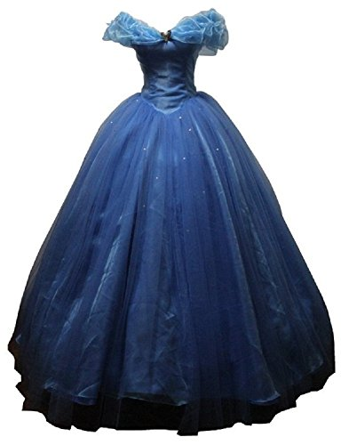 Blue Women's Cinderella Cosplay Dress Costumes Custom Made