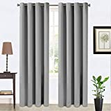 Balichun Blackout Thermal Insulated Grommet Window Curtain for Living Room (2 Panels, W52 x L84, Space Grey)