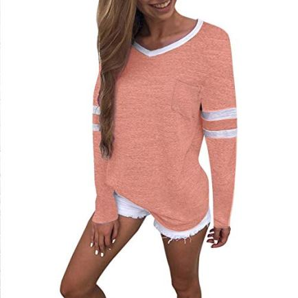 Women-Long-Sleeve-Shirts-V-Neck-Color-Block-Stripe-Patchwork-Tunic-Tee-Tops-S-611Pink