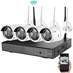 Video Security System, ACEHE HD 720P 4CH Video Security System Weatherproof IP66 for Outdoor Indoor Night Vision