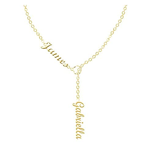 Aijiao Custom Personalized Two Name Pendant Necklace For Women Girls Any Script Friendship Gift