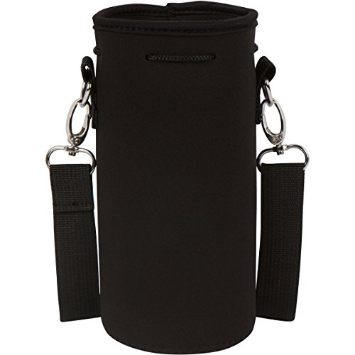 IMPROVED DESIGN - Neoprene Water Bottle Holder Bag Pouch Cover, Insulated Water Bottle Carrier (32 oz / 1-1.5L) w/ 49' Adjustable Padded Shoulder Strap by MEK (Black)