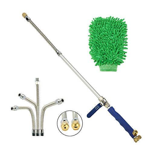 Sensphi Hydro Jet Pressure Power Washer Wand – High Pressure Water Hose Attachment Nozzle, Flexible Glass Cleaner, Extendable Garden Watering Sprayer for Hurricane Storm, 27Inch, 2 Tips.