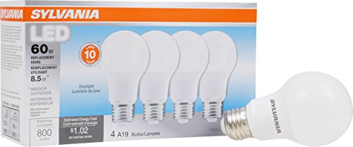 SYLVANIA, 60W Equivalent, LED Light Bulb, A19 Lamp, 4 Pack, Daylight, Energy Saving & Longer Life, Value Line, Medium Base, Efficient 8.5W, 5000K