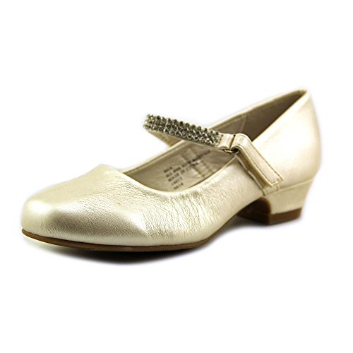 Girls Low Heel Girls Dress Shoe with Rhinestone Strap (12, Ivory)