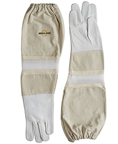 NATURAL APIARY - Goatskin - Beekeeping Gloves - Ventilated Sleeves - Sting Proof Cuffs - Extra Long Extra Long Twill Elasticated Gauntlets - Medium