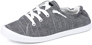 JENN ARDOR Women's Low Top Canvas Slip On Sneaker Comfort Casual Shoes Walking Flats