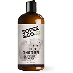 Sofee & Co. Natural Dog Conditioner, White Pear - Natural, Pure, Gentle, Moisturizing and Luxurious - Soothing, Silky and Soft - Detangles, Prevents Mattes - Great for dry, itchy, flaky, sensitive skin - Leaves a light, fresh scent - Great for hypoallergenic and long haired dogs - maltese, yorkie, shih tzu, havanese, terriers, poodles, poodle mixes, spaniels, bichon frise, and all other breeds -Cruelty Free -16 Fl Oz