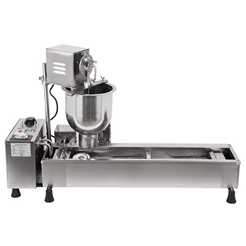 Ridgeyard Stainless Steel Commercial Donut Maker 3KW Automatic Donut Maker 7L Donut Making Machine with 3 Sets Mold,Wide Oil Tank