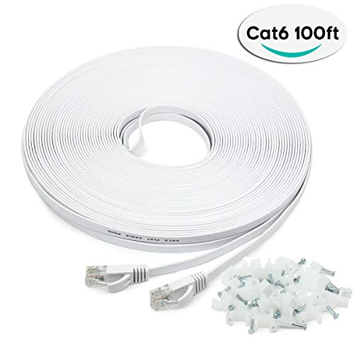 41w%2BoTOm0OL - Long Ethernet Cable 30m, CAT.6 100ft Network Cable, Flat Network Cable RJ45 Smilatte High Speed 10/100/1000Mbit/s Patch cable compatible with CAT.5 CAT.5e CAT.7