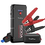 Trekpow G22 1500A Peak Car Jump Starter-12V Battery Booster Portable Power Supplies(up to 8.0L Gasoline/6.5L Diesel Engine) with Smart Jumper Cable, Quick-Charge 3.0, Type-C, 16.8V/10A DC, Flashlight