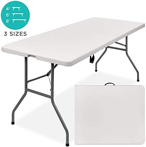 Best Choice Products 6ft Indoor Outdoor Heavy Duty Portable Folding Plastic Dining Table w/Handle, Lock for Picnic, Party, Camping - White 1