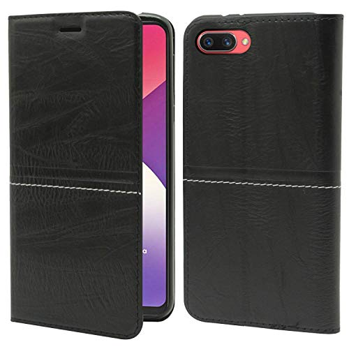 Explocart Leather Wallet Flip Case Cover for Oppo A3s - Leather Black 135