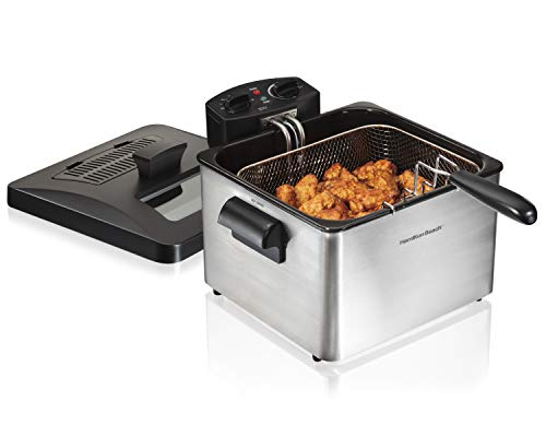 Hamilton Beach Triple Basket Electric Deep Fryer Professional-Style, 12 Cup Food Capacity, 4.5 Liters, 1800 Watts, Stainless Steel (35034),
