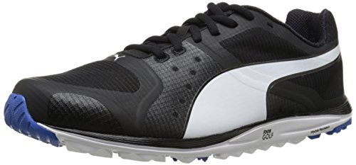 PUMA Men's Faas Xlite Golf Shoe, Black/White/Strong Blue, 10 M US
