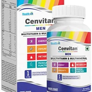 Healthvit Cenvitan Men Multivitamin & Multimineral with 24 Nutrients (Vitamins and Minerals)   Anti-Oxidants, Energy, Metabolism, Immunity and Muscle Function – 60 Tablets