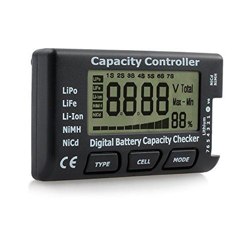 CAMWAY Digital Battery Capacity Tester Battery Checker Controller LCD for LiPo LiFe Li-ion NiMH Nicd