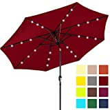 Best Choice Products 10ft Solar LED Lighted Patio Umbrella w/Tilt Adjustment, Fade-Resistant Fabric - Red