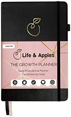 The Growth Planner - Daily Planner for Productivity, Focus and Gratitude - Goal Planner with Hourly Schedule and Monthly Calendar - Get Organized and Achieve Your Goals - Undated (Black) 1