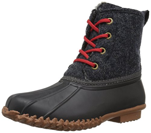 41wLJwk5PYL An Amazon brand Classic duck boot featuring waterproof shell and leather upper with contrast stitching and two-tone laces Pull tab and logo stamp at heel
