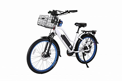 X-Treme Catalina 48 Volt High End Women's Frame Beach Cruiser, Long Range Electric Bicycle, White