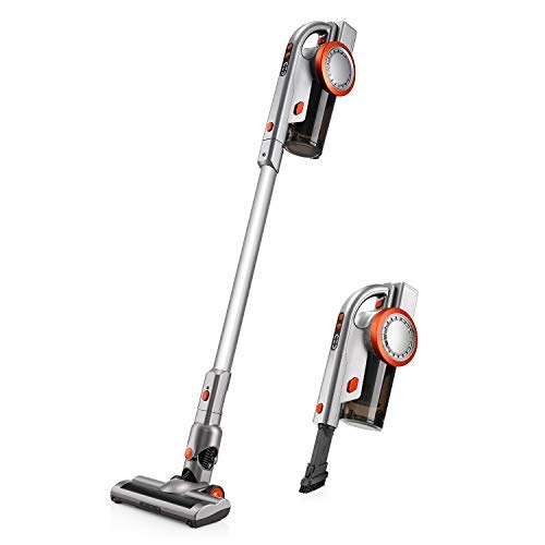 PUPPYOO A9 Cordless Stick Vacuum Cleaner, 17Kpa Powerful Suction, 200W Brushless Motor HEPA Filter Detachable Battery Stick Handheld 2 in 1 Vacuums