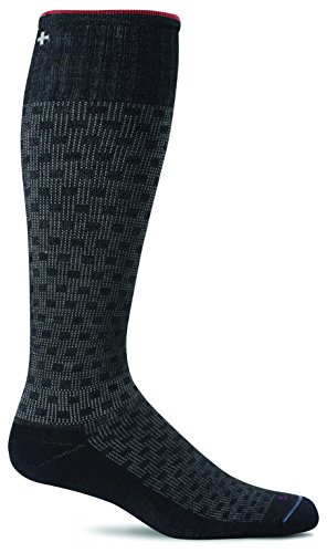 Sockwell Men's Shadow Box Socks, Black, Large/X-Large