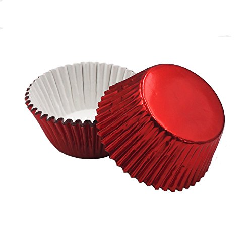 Foil Baking Cups Cupcake Liners, Standard Sized, 200 Count (Red)