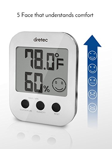 dretec-Thermometer-Hygrometer-Indoor-therometer-Humidity-meter-Silver-Officially-Tested-in-Japan-starter-AAA-battery-included