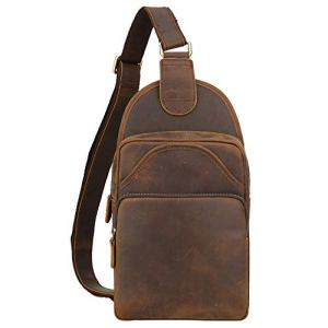 Tiding Vintage Men's Genuine Leather Sling Bag Crossbody Shoulder Chest Pack Unbalance Backpack For Travel School Sport Hiking - (Brown, Medium Size) 12 🛒 Fashion Online Shop gifts for her gifts for him womens full figure