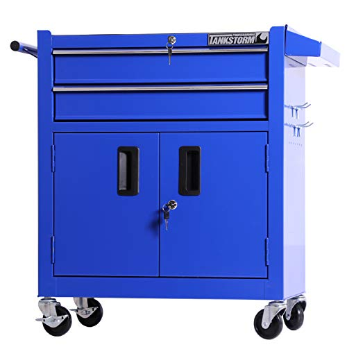 TANKSTORM Tool Chest Heavy Duty Cart Steel Rolling Tool Box with Lockable Drawers and Doors (TZ12A Blue)