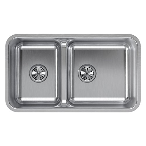 Elkay ELUHAQD32179 Lustertone Classic 40/60 Double Bowl Undermount Stainless Steel Sink with Aqua Divide