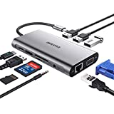 USB C Hub, USB C Adapter, EUASOO 10 in 1 Thunderbolt 3 hub 1000M RJ45 Ethernet, 4K HDMI, VGA, USB 3.0 Ports, PD 2.0 Charging Port, Card Reader, Audio Mic Port MacBook, Chromebook More