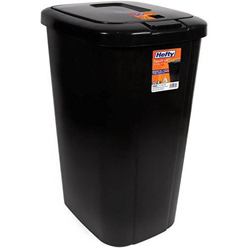 Lightweight and Durable Hefty Touch Lid 13.3 Gallon Trash Can (Black)