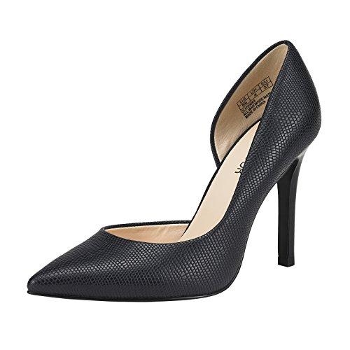 JENN ARDOR Stiletto High Heel Shoes For Women: Pointed, Closed Toe Classic Slip On Dress Pumps-Navy