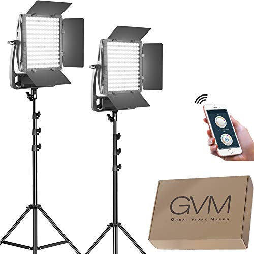 GVM-LED-Video-Light-KitDimmable-Bi-Color-Video-Light-with-Stand-and-U-BracketUltra-Bright-18000Lumen-Photography-Lighting-Portable-with-APP-Control-for-Studio-Product-Portrait-YouTube-Video-Shoot