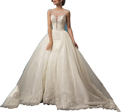 41wcZ7O6J9L style:detachable skirt wedding dresses,mermaid wedding dresses.fabric:lace wedding dress,luxury wedding dresses,year:wedding dresses 2017. it will be better if you give us your exact size bust=__cm(inches),waist=__cm(inches),hip=__cm(inches),shoulder to shoulder=__cm(inches),height=__cm(inches),height with shoes=__cm(inches) so we can customize a dress specially for you according to your exact size please you measure your exact size according to the left photo Color: white,ivory and champagne.