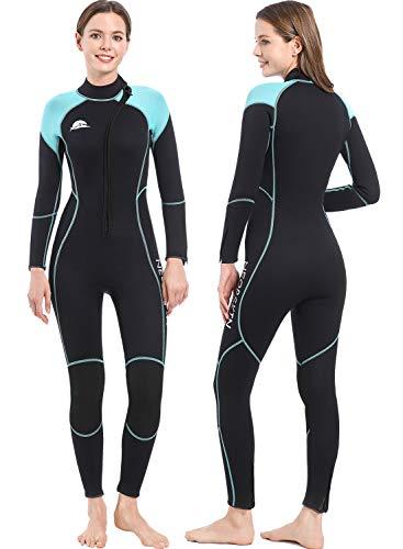 NeopSkin Diving Suit Men Women 3mm Neoprene Wetsuit Warm Full Body Long Sleeve Wet Suits Front Zip One Piece Thermal Swimsuit for Snorkeling Swimming Surfing (Women's Blue, Women's Small)