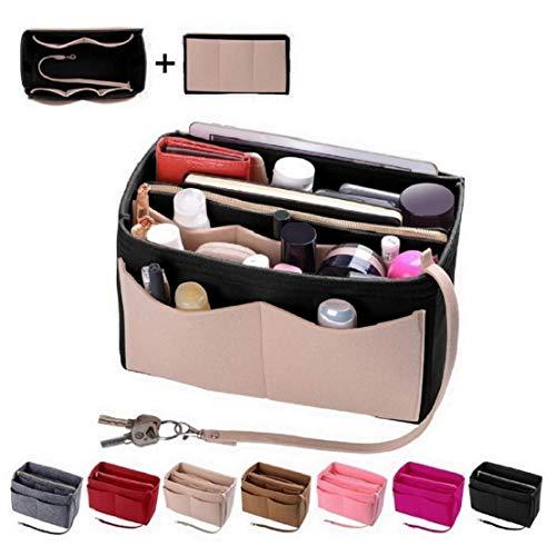 Purse Organizer Insert, Felt Bag organizer with zipper, Handbag & Tote Shaper, Fit LV Speedy, Neverfull, Longchamp, Tote (Large, Beige and Black)