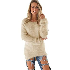 INCON Women's Fashion Solid Color Knit Jumper Long Sleeve Pullover Baggy Solid Sweater Tops