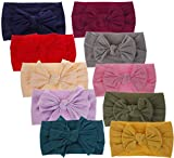 Baby Headbands Soft Nylon Headwraps Turban Knotted, Girl's Hairbands for Infant,Toddler and Childrens (10 Pack-cl16)