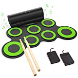 PAXCESS Electronic Drum Set, Roll Up Drum Practice Pad Midi Drum Kit with Headphone Jack Built-in...