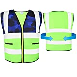 AKFLY Reflective Vest with Pockets Zipper for Women Men Running Cycling Jogging Walking Motorcycling and Yellow High Visibility Class 2 Safety Vest for Working (Small)