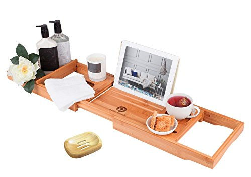PREMIUM Bamboo Bathtub Caddy Tray - Packed with 12 Features |Wooden Bathtub Tray with Wine Glass Holder, Book Holder, iPad Stand | Expandable Wooden Shelf, Over The Tub Organizer | Great Gift Item