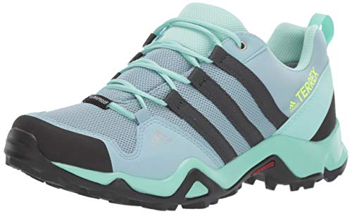 adidas outdoor Kids' Terrex AX2R CP Hiking Shoe Boot, ash Grey/Carbon/Clear Mint, 5.5 Child US Big Kid