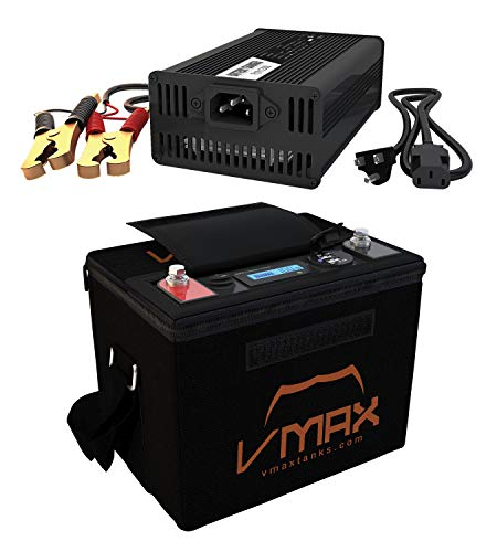 VMAX VPG12C-40LFP Lithium LIFEPO4 Battery for SLA DEEP Cycle Marine 40AH 12V + 10A Charger w/case