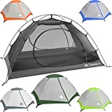 Hyke & Byke 1 Person Backpacking Tent with Footprint - Lightweight Yosemite One Man 3 Season Ultralight, Waterproof, Ultra Compact 1p Freestanding Backpack Tents for Camping and Hiking (Forest Green)