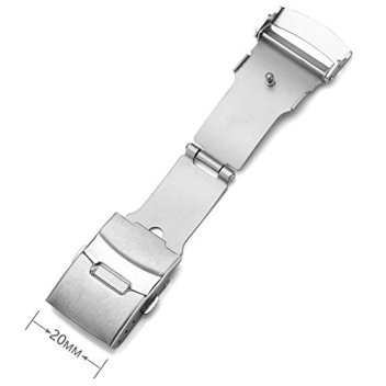 Top Plaza Stainless Steel Deployment Clasp - 20mm Silver Single Fold Over Clasp Deployant Buckle with Insurance Watchband Clasp for Leather/Metal Watch Band Strap