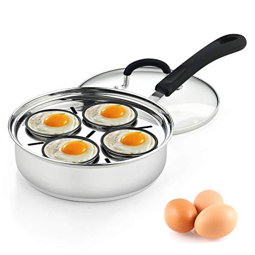 Cook N Home 02625 4 Cup Stainless Steel Egg Poacher Pan 8' (Renewed)